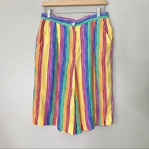 Vintage Rainbow Colorful Striped Long Shorts